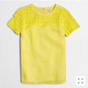 J. Crew Yellow Linen & Lace T-Shirt